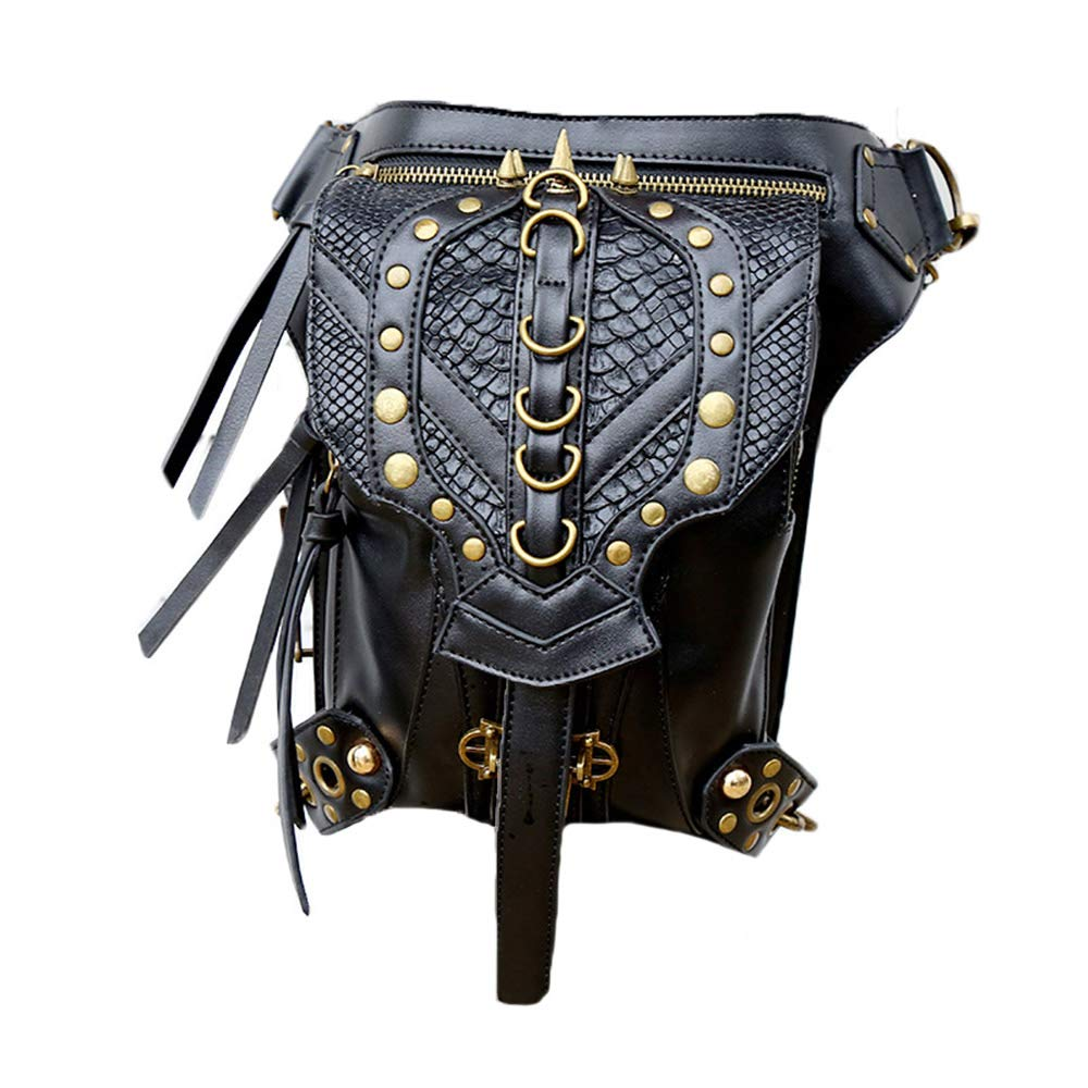 Steelmaster Unisexe Gothique Steampunk Casual Pu Satchel ¨¦paule Crossbody Sac Mini Outdoor Waist Packs