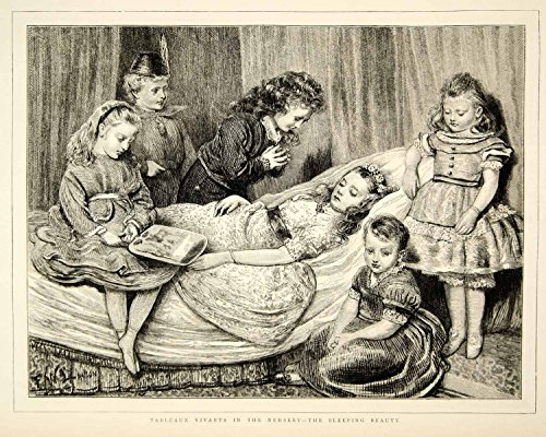 1873 Wood Engraving FW Lawson Art Tableau Vivant Sleeping Beauty Victorian YTG6 - Original In-Text Wood Engraving