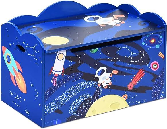 COSTWAY Caja de Almacenaje de Juguetes con Tapa Baúl para Organizador 70,5 x 43 x 45 Centímetros Banco para Niños Dormitorio (Azul): Amazon.es: Hogar