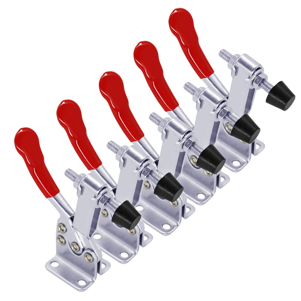 5 pack Hold Down Toggle Clamps Latch Antislip Red 201B Hand Tool 200Lbs Holding Capacity Antislip Horizontal Quick Release Heavy Duty Toggle Clamp Tool (201B)