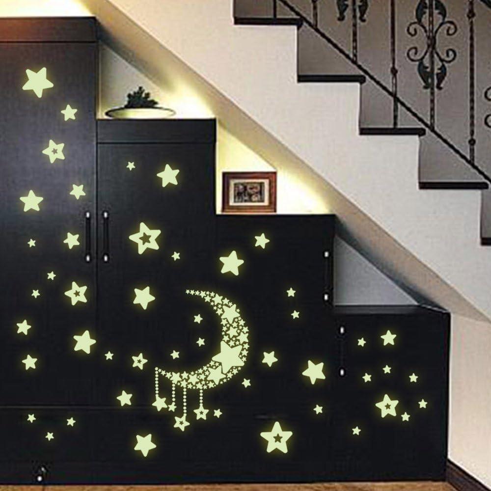 Ohmais Sticker mural luminosit/é Autocollant muraux design /étoiles phosphorescentes pour chambre de b/éb/é enfant
