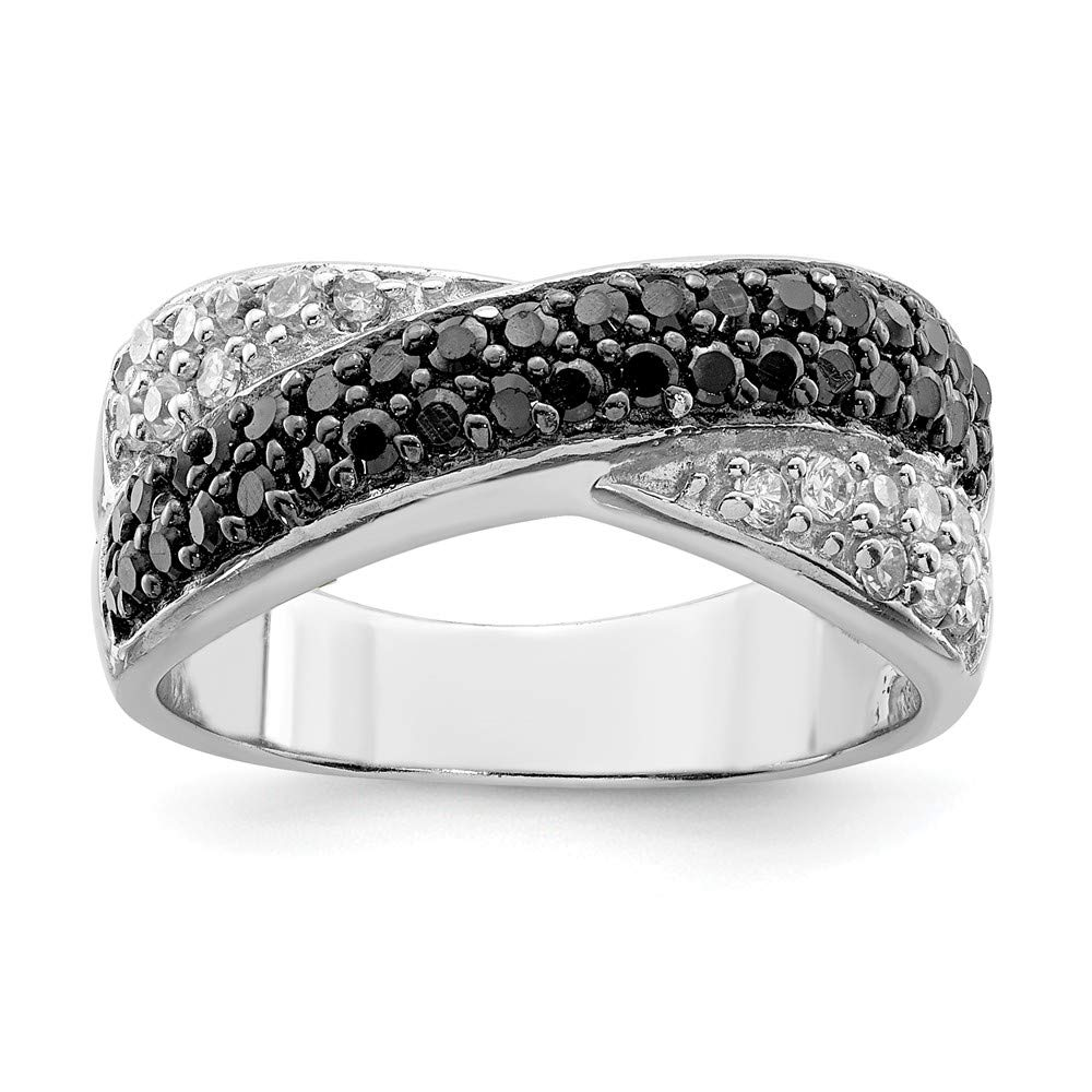 Crossed Wedding Bands.Amazon Com Sonia Jewels 925 Sterling Silver Black White Cubic