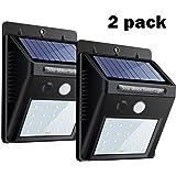 Luci solari2 pezzi,20 LEDdel sensore di movimentodella luceWall diLeyoda® ,sicurezzabrillanteNight LightsAutoOn / Off,impermeabileSpotlightenergia solaresenza filiper l'albero