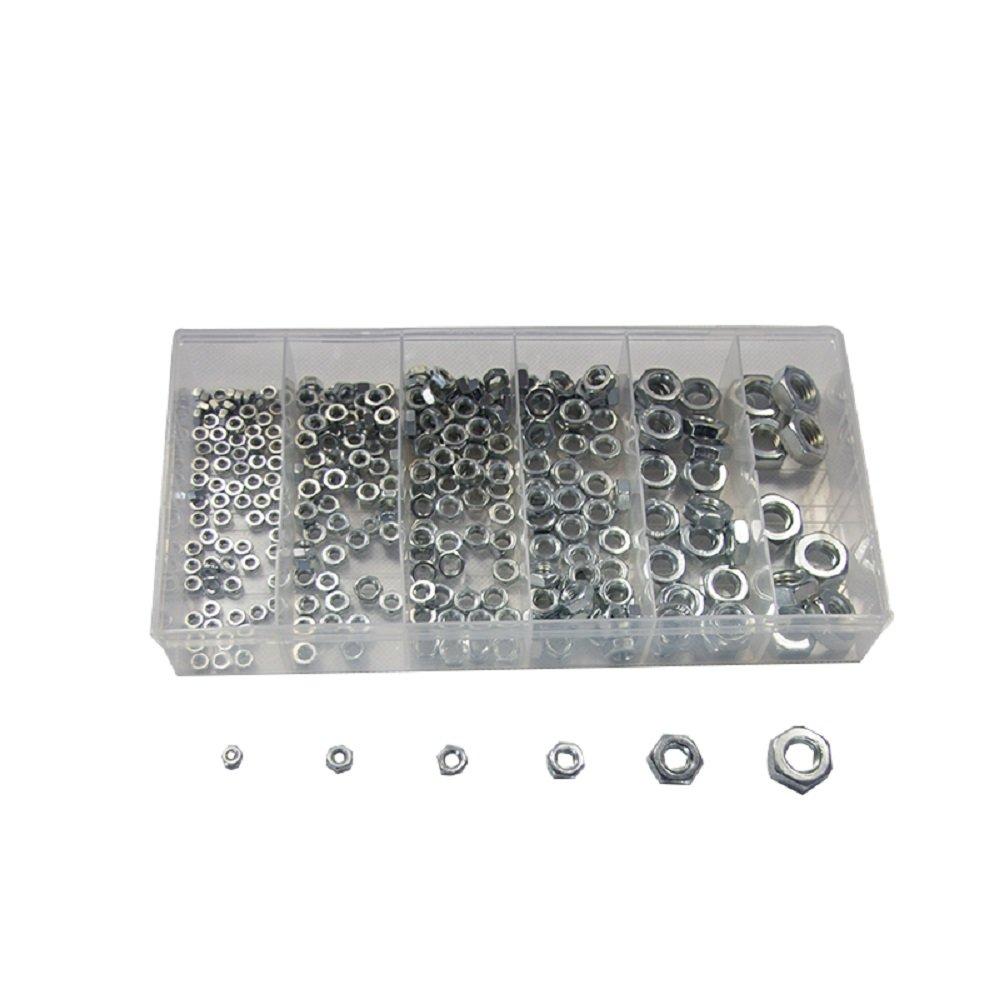 M3 M10 CSLU 300 Piece Assorted Hex Nuts Set in Storage Case Zinc Plated