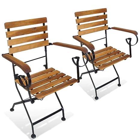 Festnight- sillas Plegables de jardín de Madera con ...