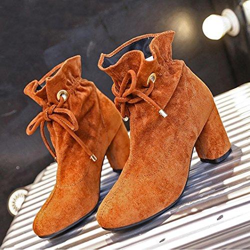 Stiefel Frühling Damen Casual quadratische Stiefel Ankle Schnürschuh Casual Outdoor Braun Boots hunpta Ferse R5Ctqw
