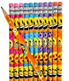 48 Novelty Emoji Smiley Face Two Pencils -  Durable Wood and High-Quality Lead - Awesome Back-To-School Presents, Classroom Rewards, and Kids Party Favors - Won't Snap or Peel - Popular With Kids