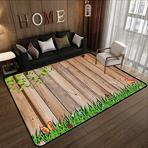 Bath Rugs,Farm House Decor,Fresh Spring Season Jardin with Butterflies and Ladybugs in Park Scene Artwork,Multi 59