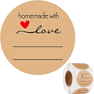500Pcs 1.5inch Homemade with Love Stickers, Lines for Writing Stickers, Classy Retro Sticker for Bags, Boxes, Tissue Etc.(2)