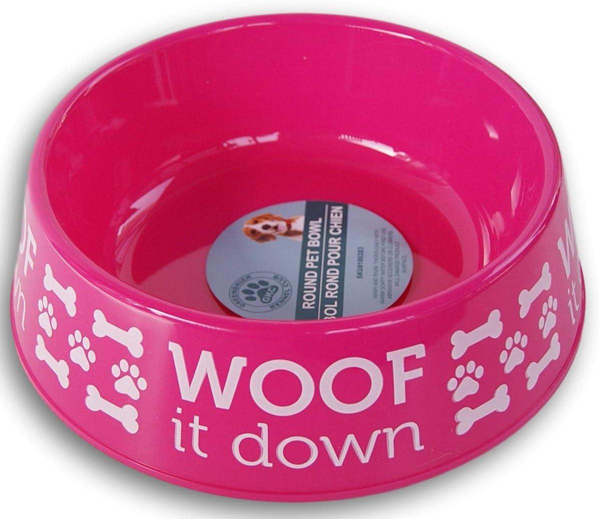 Retail Hot Pink Plastic 6-Cup Capacity Bone Pattern Dog Bowl - 8.5'' x 3''