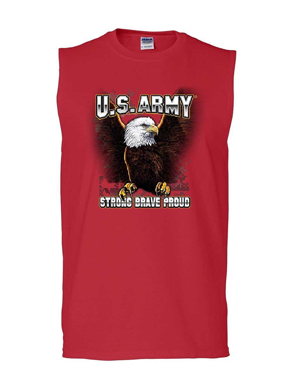 United States Army Muscle Shirt Bald Eagle Strong Brave Proud Veteran Sleeveless