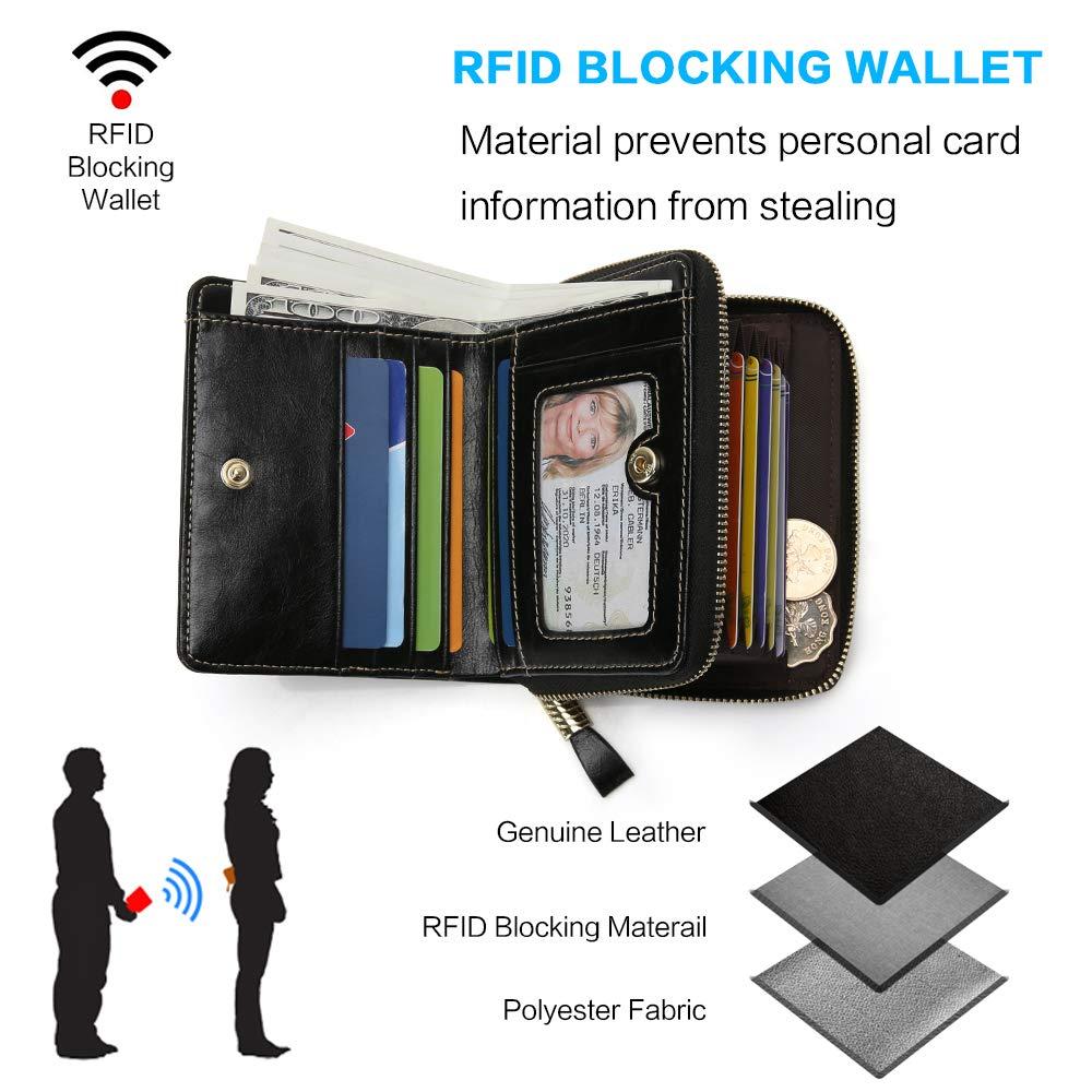 e68823110283f Geldbörse Damen Klein echtes Leder Geldtasche RFID Blocking  Kreditkartentasche mit Reißverschluss Bargeldschlitz und Münzfach Große  Kapazität Mini Frauen ...