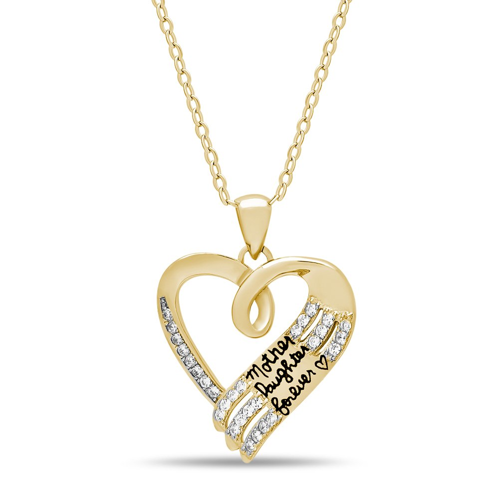 Sterling silver mother daughter necklace silver 14k gold plated 925 sterling silver mother daughter necklace silver14k gold plated heart necklace engraved w mother daughter forever silver necklace for mom daughter aloadofball Gallery