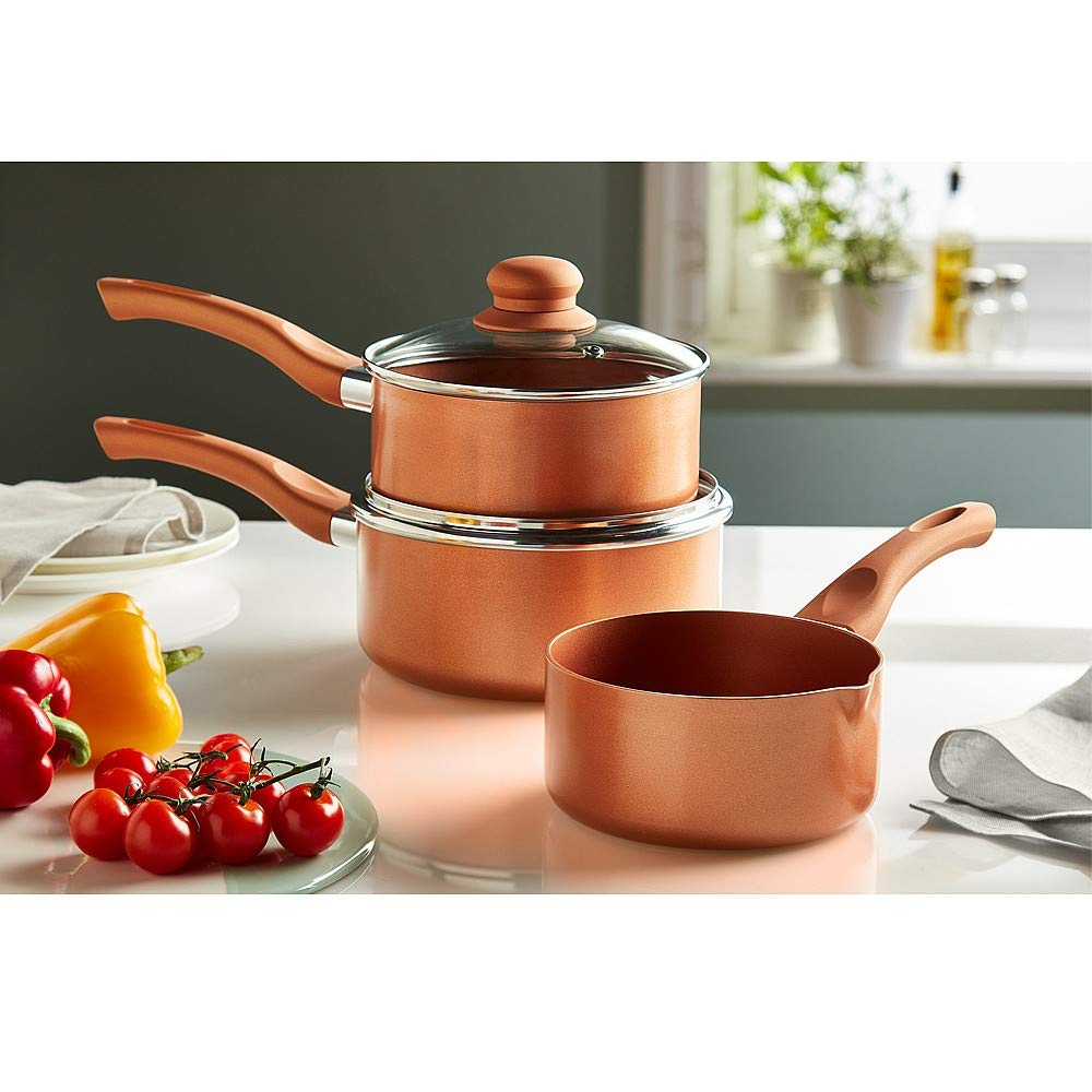 Set of 3 14cm//16cm//18cm Copper Ceramic Non-Stick Saucepans Copper King Cookware