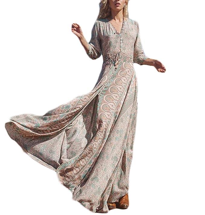 selezione premium 5c2ec 5a1bf Vestiti Lunghi Donna Eleganti Vestito Estivi Manica 3/4 V ...