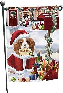 Dear Santa Mailbox Christmas Letter Cavalier King Charles Spaniel Dog Garden Flag