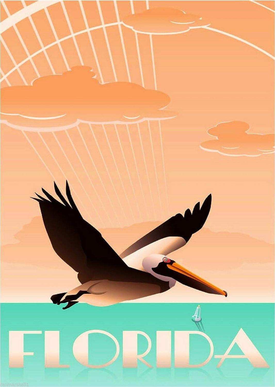 TYmall Wall Art Miami Beach Florida Pelican Bird United States Travel Advertisement Metal Tin Sign House Decor Gift 8X12 Inch