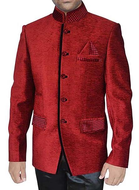 INMONARCH Mens Crimson red Velvet 3 Pc Jodhpuri Suit JO271 ...