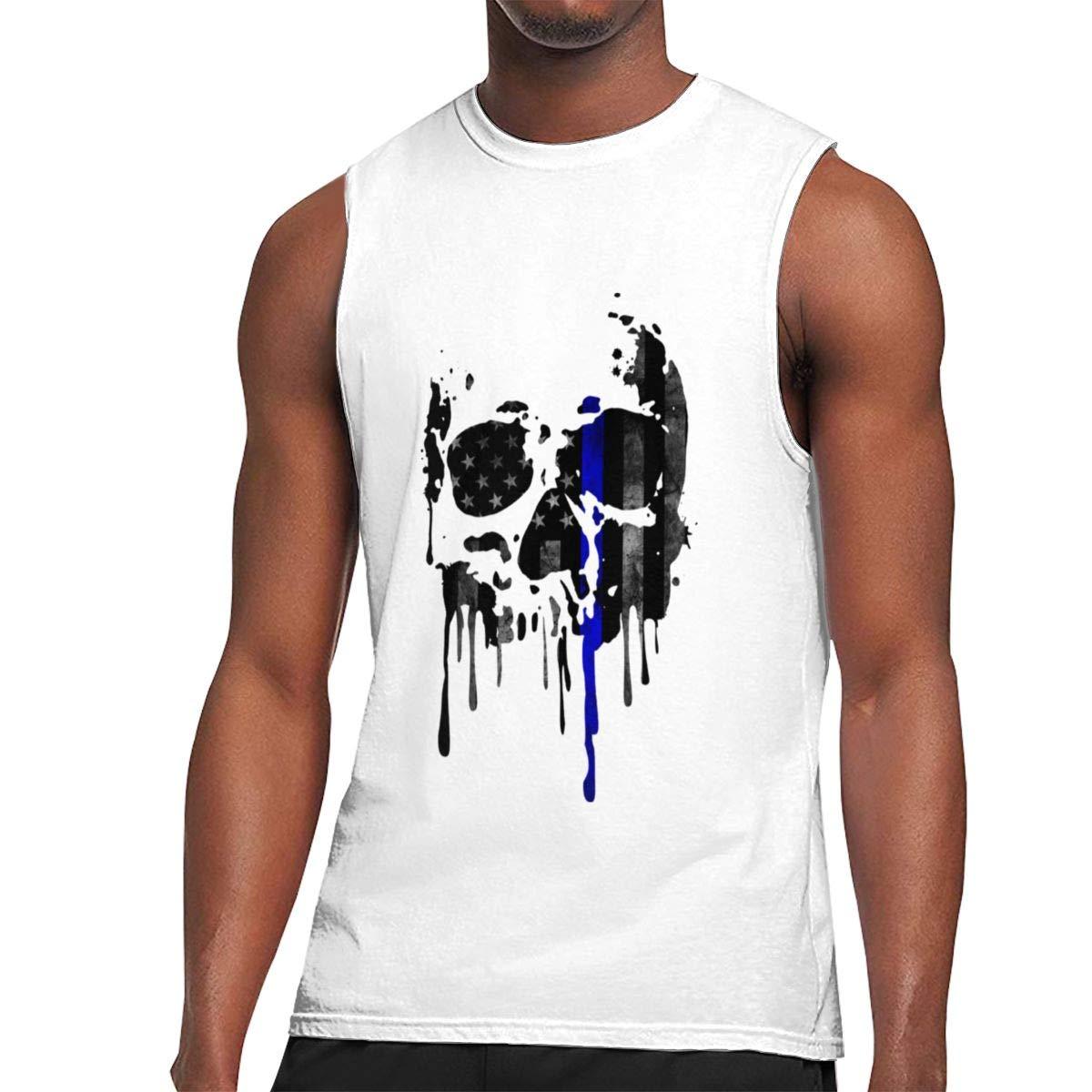 Seuriamin Thin Blue Line S Humor Outdoor Sleeveless Muscle Short Sleeve Shirt