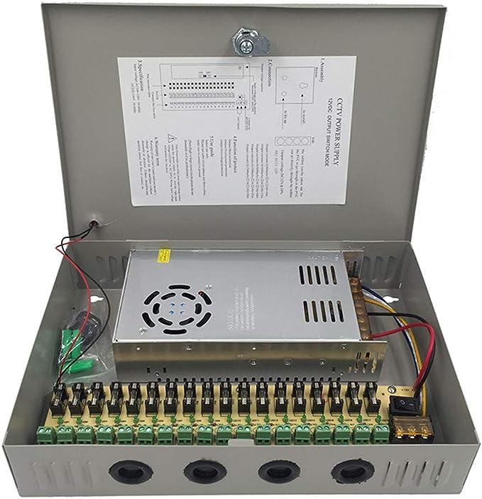 18 Canales Salida de Puerto 12V 30A 360W CCTV DVR Caja de Fuente de Alimentación Distribuida para Cámaras de Seguridad con Ventilador Incorporado: Amazon.es: Electrónica
