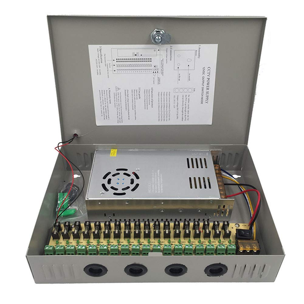 CCTV Power Supply 18 Channel Port Box, Distributed Power Supply Output 12V 30 Amp 360 Watt, for CCTV DVR Security System and Cameras by MEISHILE