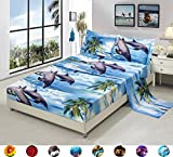 4 Piece Set Luxury 3d Print Vivid Animals Pattern Bed Sheet Set,Dancing Dolphin in the Blue Ocean Bay and Palm Tree Island (1 Flat Sheet,1 Fitted Sheet,2 Pillow shams) (King, Dolphin Coconut Tree)