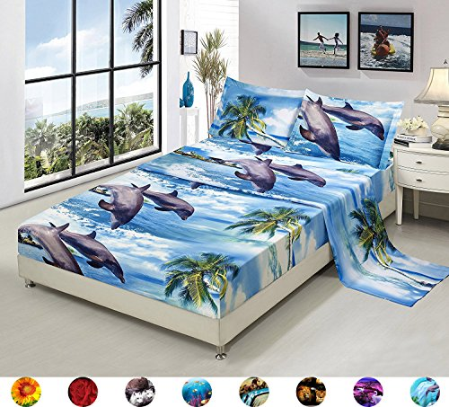 Dolphin Sheets - 4 Piece Set Luxury 3d Print Vivid Animals Pattern Bed Sheet Set,Dancing Dolphin in the Blue Ocean Bay and Palm Tree Island (1 Flat Sheet,1 Fitted Sheet,2 Pillow shams) (Queen, Dolphin Coconut Tree)