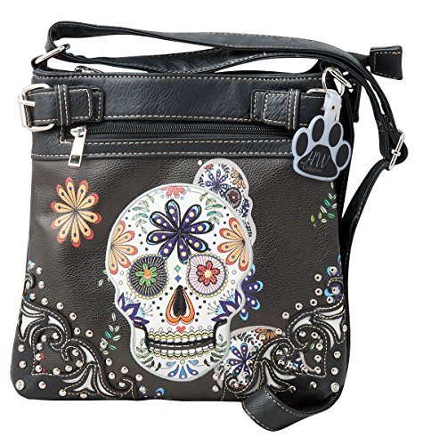 Western Concealed Carry Crossbody Purse Messenger Sugar Collection Bag Skull Handbag HW Black YqTXI4wT