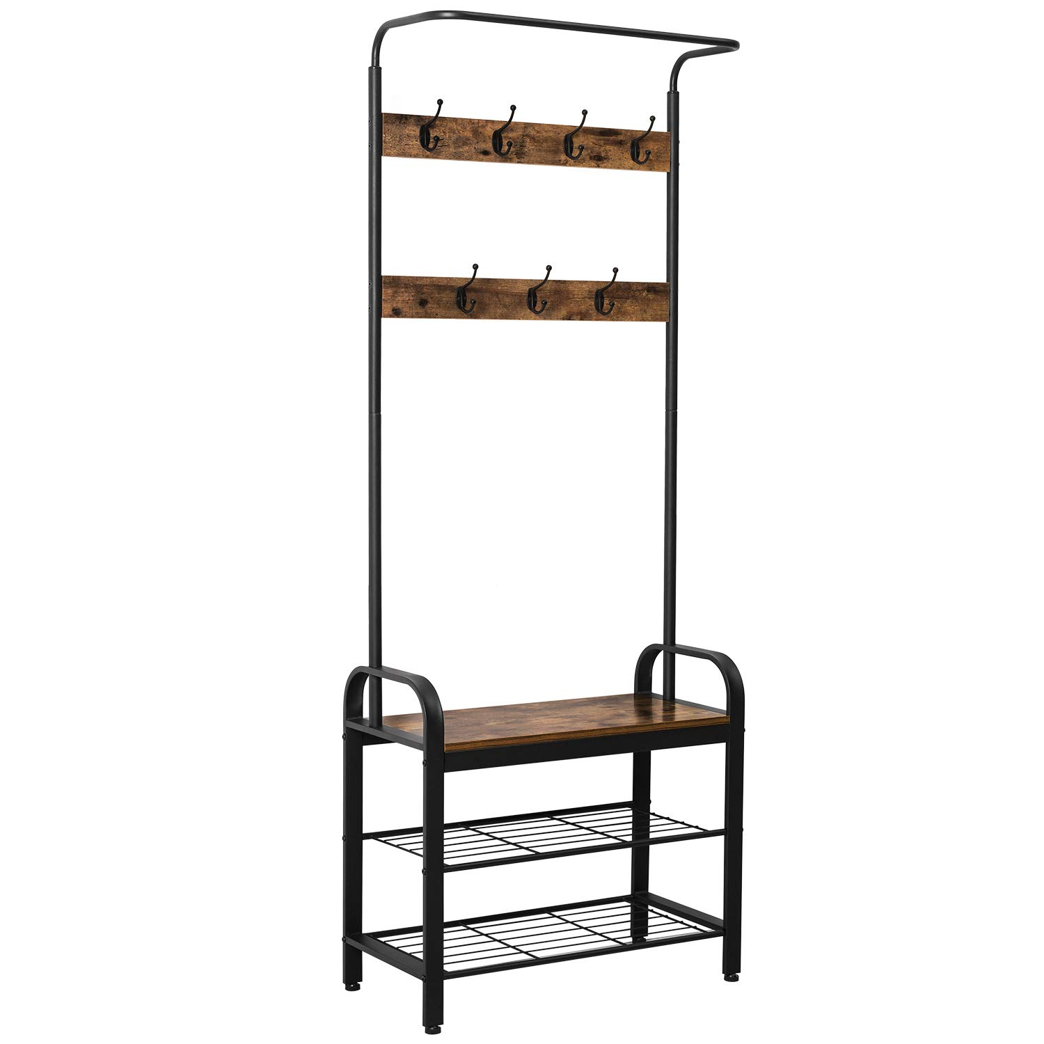 IRONCK Coat Rack Free Standing Hall Tree, Entryway Organizer with Entryway Bench, Vintage Industrial Coat Stand, 3 in 1 Design, Easy Assembly