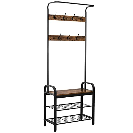 IRONCK Coat Rack Free Standing Hall Tree, Entryway Bench, Entryway Organizer, Vintage Industrial Coat Stand, 3 in 1 Design Wood Look Accent Furniture ...