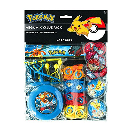 Available! 48 Piece Pokemon Pikachu and Friends Birthday Party Favor Mega Mix Value Pack]()