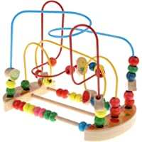 MagiDeal Wooden Around Beads Maze Roller Coaster Educational Toys for Toddler Kids Baby, Colors Shapes Puzzle Counting…