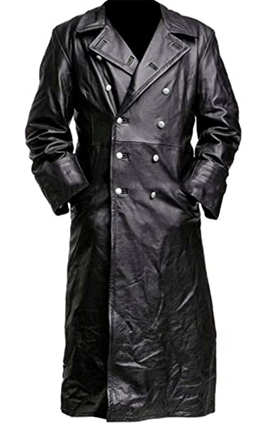 3e0f3e8d3 SKYSELLER German Classic Officer WW2 Military Uniform Black Leather Trench  Coat