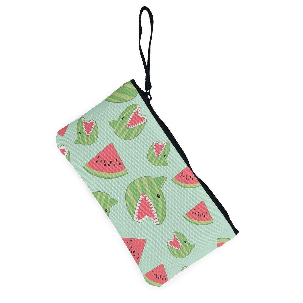 Coin Pouch Shark Watermelon Canvas Coin Purse Cellphone Card Bag With Handle And Zipper