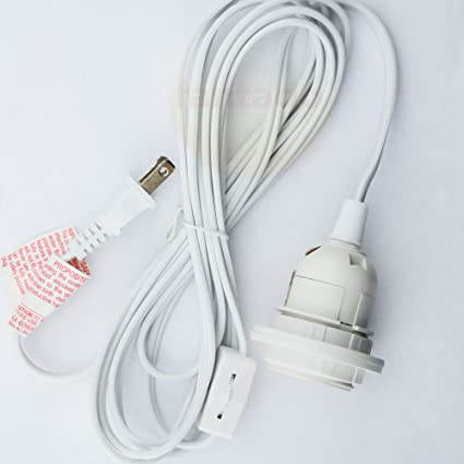 Beautiful Single Socket Pendant Light Cord Kit For Lanterns (15FT, UL Listed, White)