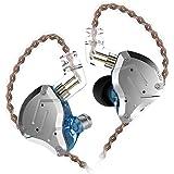 KZ ZS10 PRO 重低音 kz イヤホン 高音質 イヤホン イヤモニ型 ハイブリッド イヤホン 1ダイナミック&4バランスド・アーマチュアを搭載 リケーブル可能 透明感であるシェルとフェイスプレートを採用 中華イヤホン Yinyoo (ZS10 Pro銀‐青・マイクなし)