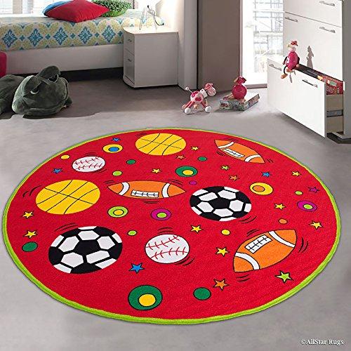 Allstar 8 X 8 Kids Sports Football Basketball Soccer with Baseball Area Rug (Round 7' 7'' X 7' 7'') by AllStar Rugs
