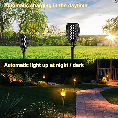 Patio Yard Driveway 2 Pack Solar Lights Outdoor Waterproof Dancing Flickering Flames Torches Lights 96 LED Landscape Decoration Lighting Dusk to Dawn Auto On//Off Solar Security Spotlight for Garden