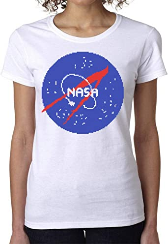 NASA Logo Pixels Womens T-Shirt Camiseta Mujer Medium: Amazon.es: Ropa y accesorios