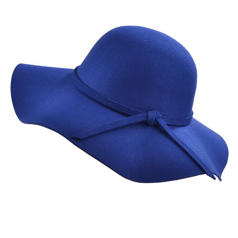 2019 Simple Retro Kids Child Girl Hats Wool Felt Crushable Wide Brim Cloche Floppy Sun Parent-Child Beach Cap,4,Child 52-54cm