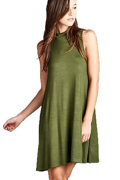 02fee888a81 YFH Women Mock Turtleneck Sleeveless A-Line Tunic Dress S~3XL (Medium,  Olive) at Amazon Women's Clothing store:
