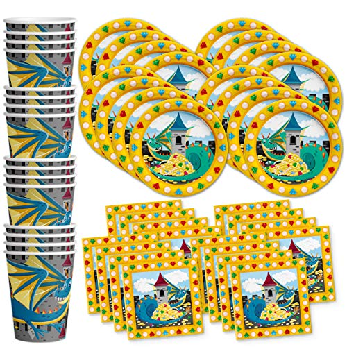 Mythical Dragon Birthday Party Supplies Set Plates Napkins Cups Tableware Kit for 16]()