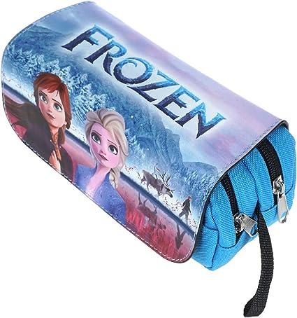 CoolChange Estuche Espacioso para làpices de Frozen, Solapa de Cuero PU, Elsa & Anna, Azul: Amazon.es: Juguetes y juegos