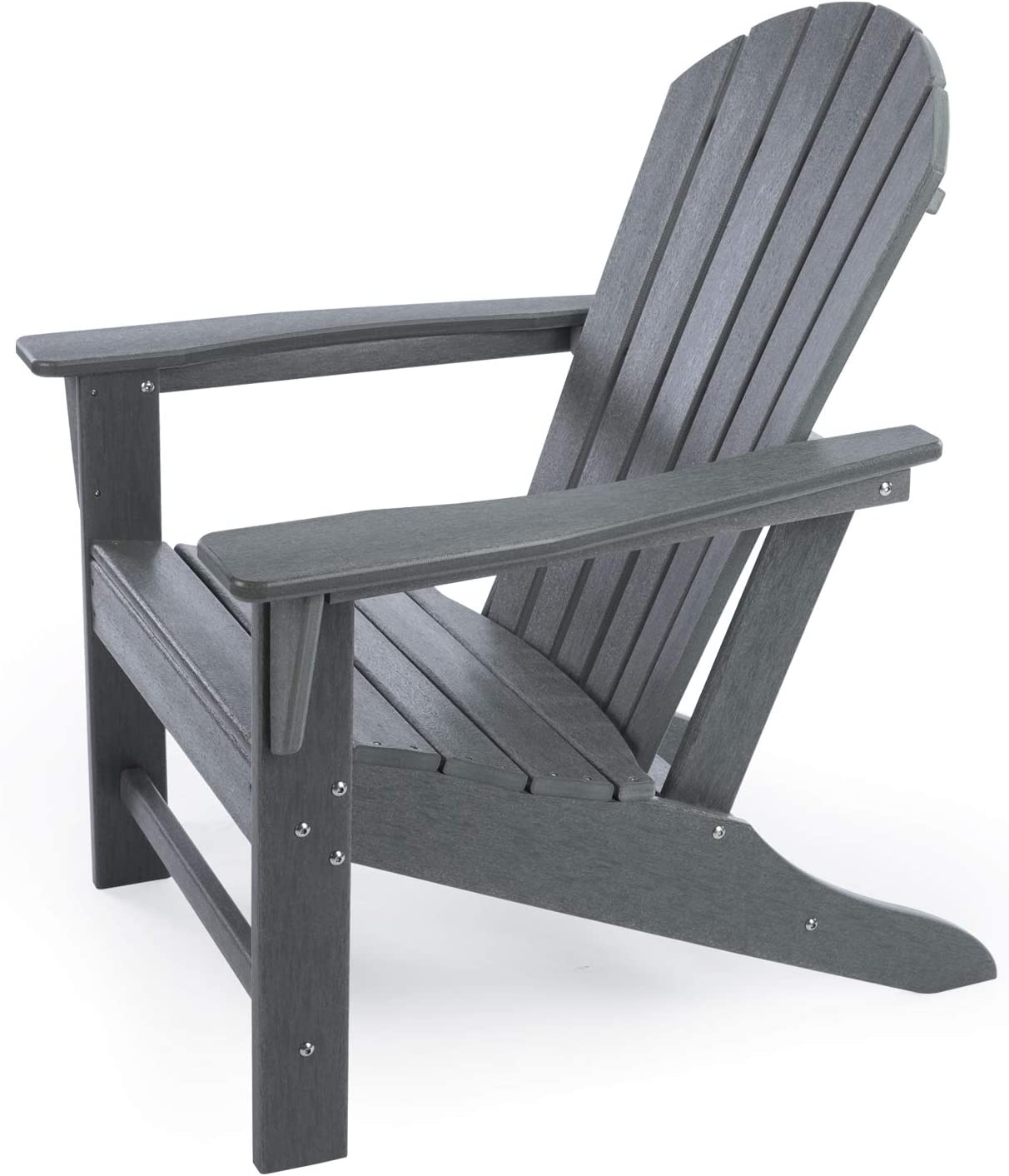 Amazon Com Dailylife Hdpe Plastic Resin Classic Outdoor Adirondack Chair For Patio Deck Garden Backyard Lawn Furniture Slate Gray Slate Gray Kitchen Dining