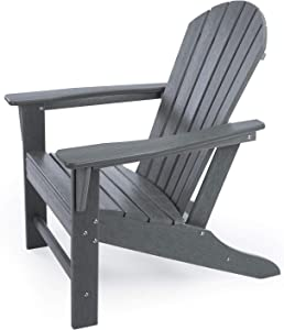 HDPE Adirondack Chair, Patio Outdoor Chairs, Plastic Resin Deck Chair, Painted Weather Resistant, for Deck, Garden, Backyard & Lawn Furniture, Fire Pit, Porch Seating by DAILYLIFE (Slate Gray)