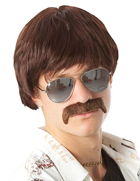 60s 70s Mens Costume Wig Short Brown Wigs Mustache Sonny Hippie 60s Singer Tv Star Cop Detective Costume