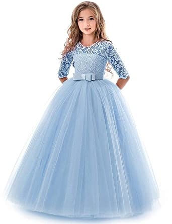 WEONEDREAM 6T 7T Fancy Dresses Little Big Girls Summer Fall Clothes  Children Floral Lace Ruffle Satin 4e62f67e9b9e