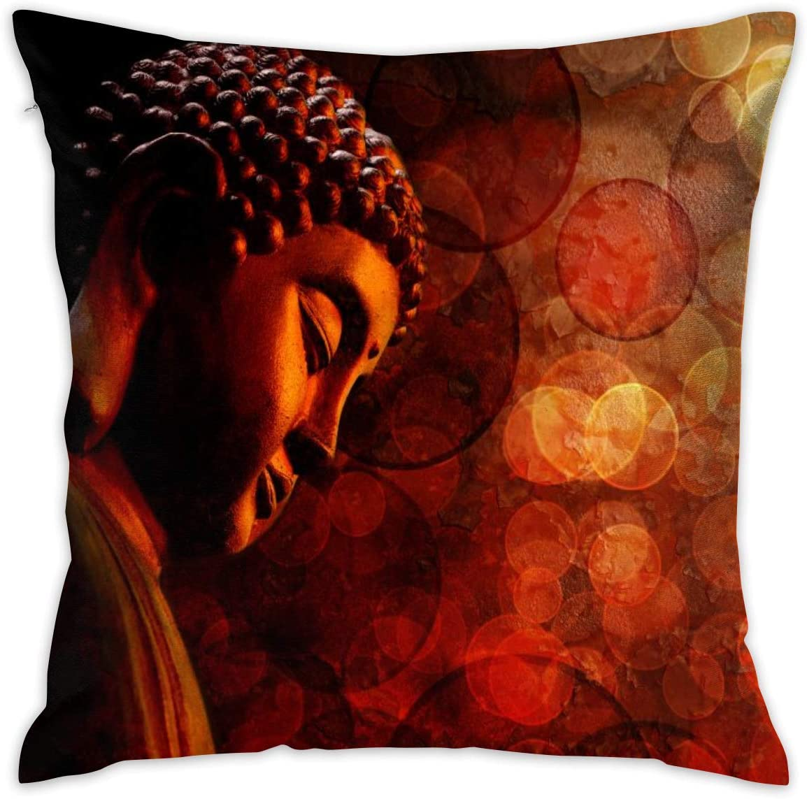 Bronze Zen Buddha Statue Meditating Blurred Decorative Throw Pillow Cover Hidden Zipper Closure Cushion Case For Home Sofa Bedroom Car Chair House Party Indoor Outdoor 18 X 18 Inch 45 X
