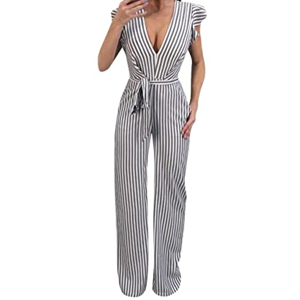 9d2e555fa25 Image Unavailable. Image not available for. Color  Makaor Women Summer V  Neck Backless Sleeveless Striped Halter Ruffle Sexy Long Jumpsuit (White