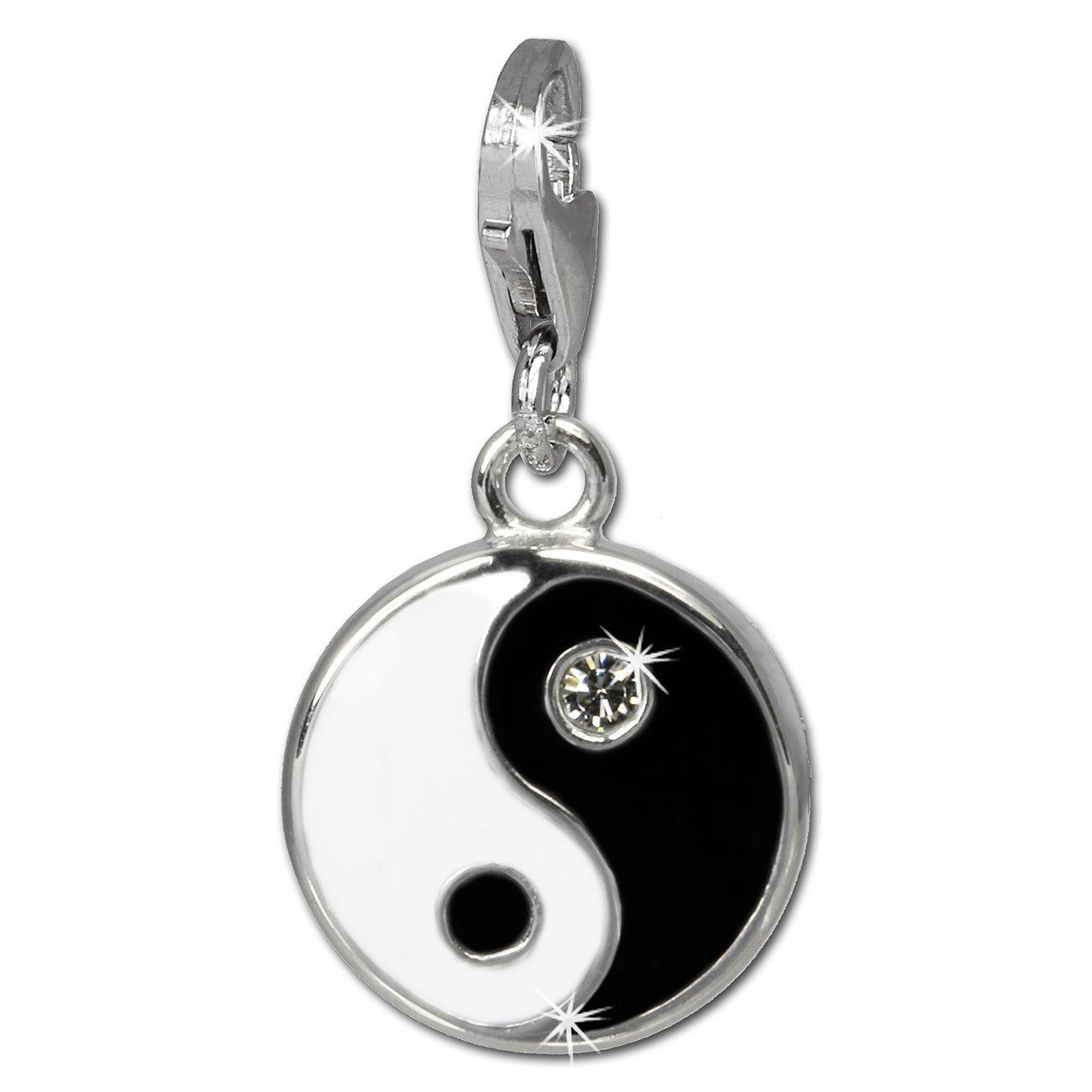 Charm 925 Sterling Silber Bead Anhänger Yin Yang Symbol Emaille Damen Nenalina